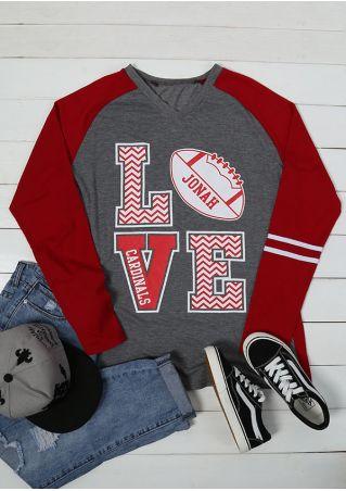 Plus Size Love Printed V-Neck Baseball T-Shirt