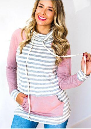 Striped Splicing Drawstring Pocket Elbow Patch Sweatshirt