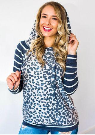 Leopard Printed Striped Splicing Drawstring Hoodie