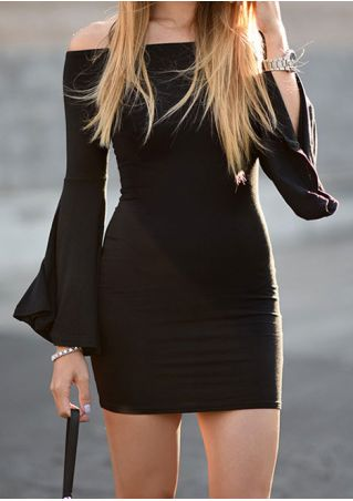 Solid Off Shoulder Flare Sleeve Bodycon Dress