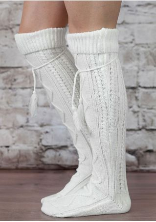 Solid Knitted Tassel Long Socks