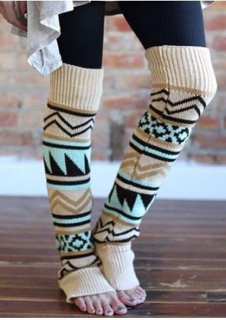 Geometric Knitted Kneecap Long Socks