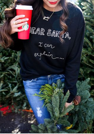Dear Santa O-Neck Long Sleeve Sweatshirt without Necklace