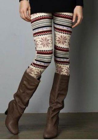 Printed Elastic Waist Skinny Leggings