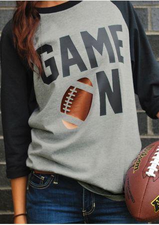 Game On Football Printed Baseball T-Shirt