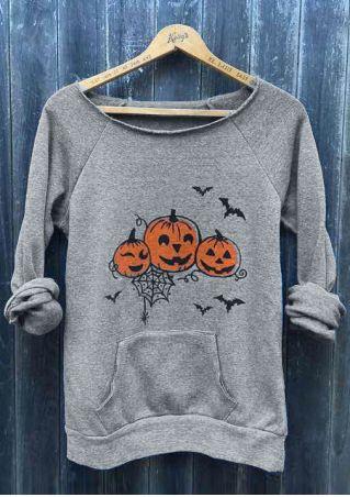 Halloween Pumpkin Face Bat Pocket Sweatshirt