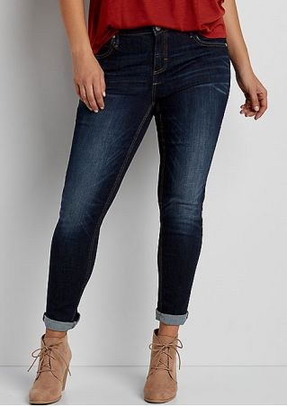 Plus Size Solid Button Pocket Denim Pants