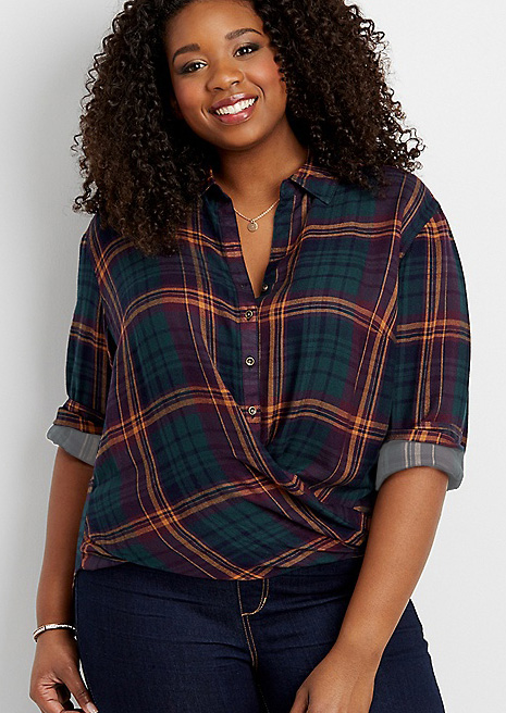 a759a0587dc Plus Size Plaid Turn-Down Collar Shirt without Necklace - Bellelily