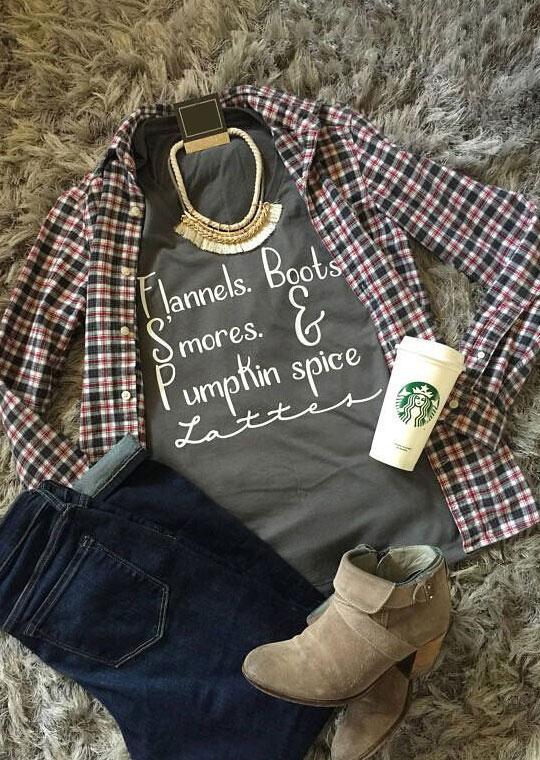 56b7066dd Halloween Flannels Boots S'mores Pumpkin Spice T-Shirt - Bellelily