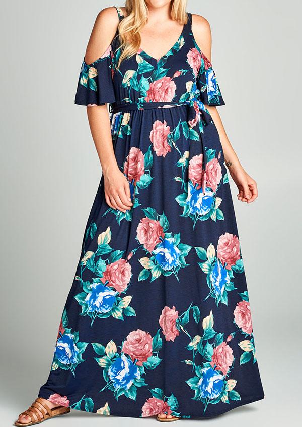 Plus Size Floral Cold Shoulder Maxi Dress - Bellelily