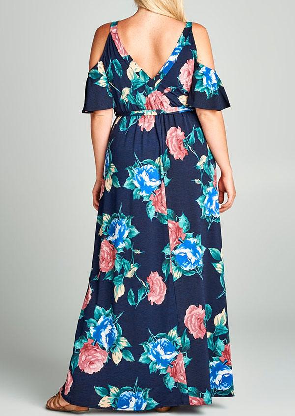 d94ac7a9c3e Plus Size Floral Cold Shoulder Maxi Dress - Bellelily