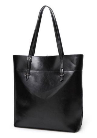 Solid PU Leather Shoulder Bag