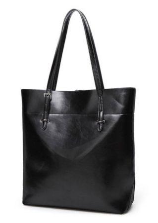 Solid PU Leather Shoulder Bag