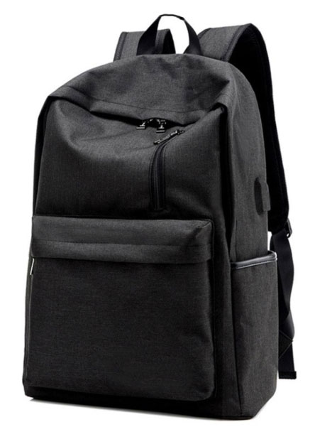 Solid Multi-Layered Zipper Backpack with USB Charging Port