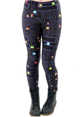 Plus Size Pacman Printed Elastic Waist Leggings