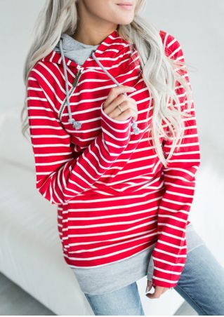 Striped Drawstring Pocket Long Sleeve Hoodie