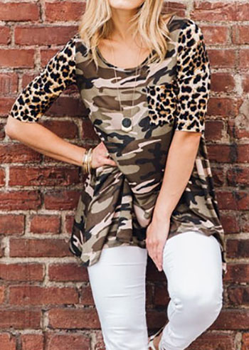 Plus Size Camouflage Printed Blouse without Necklace 160892