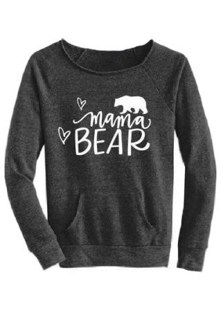 Mama Bear Pocket O-Neck Sweatshirt