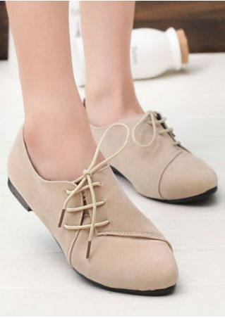 Summer Solid Lace Up Flats