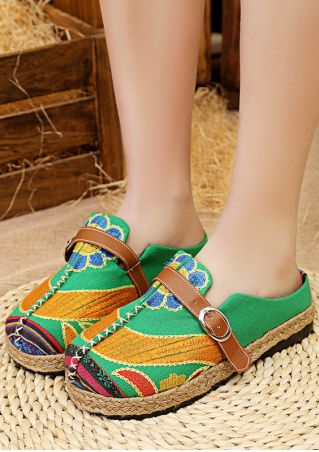 Floral Buckle Strap Round Toe Flats