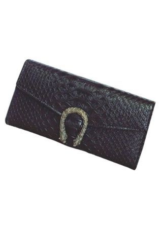 Solid PU Snakeskin Texture Buckle Wallet