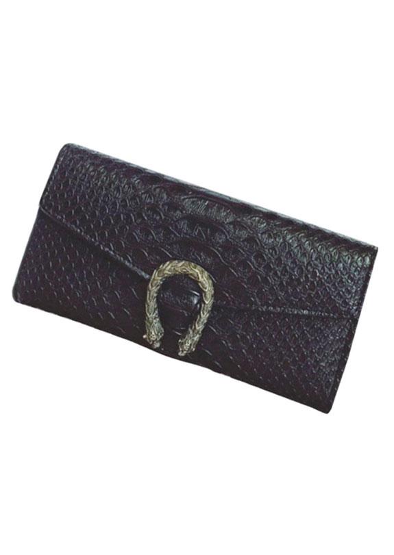 Solid PU Snakeskin Texture Buckle Wallet