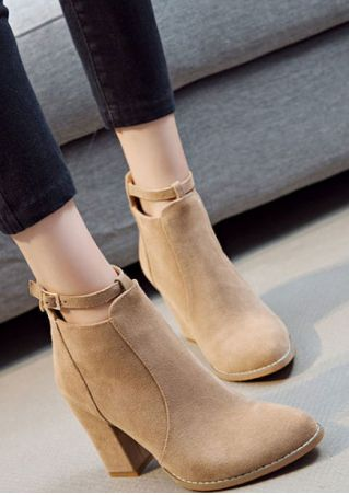 Solid Ankle Strap Heeled Boots