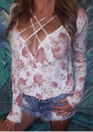 Floral Criss-Cross Wrap Deep V-Neck Blouse