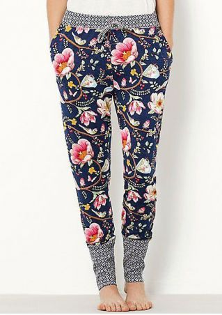 Floral Geometric Splicing Drawstring Slim Pants