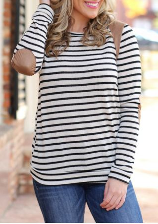 Striped Elbow Patch O-Neck Long Sleeve Blouse