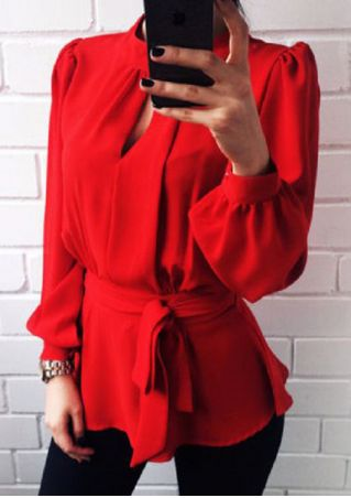 Solid Hollow Out Zipper Blouse