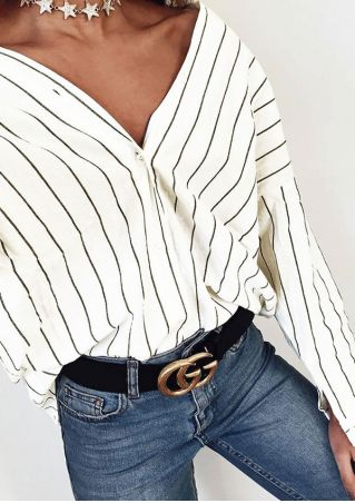 Striped Button Shirt without Necklace