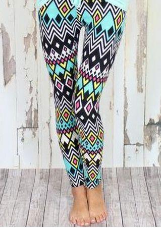 Geometric Printed Elastic Waist Leggings
