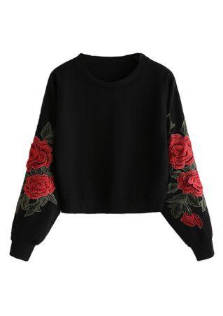 Applique O-Neck Long Sleeve Sweatshirt