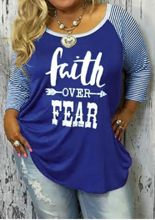 Plus Size Faith Over Fear Baseball T-Shirt without Necklace