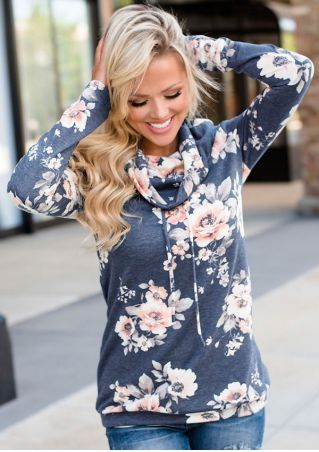Floral Long Sleeve Drawstring Blouse
