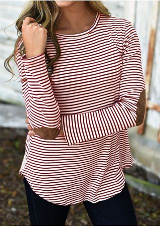 Striped Elbow Patch O-Neck Blouse