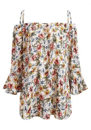 Plus Size Floral Cold Shoulder Blouse