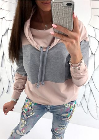 Color Block Drawstring Sweatshirt without Necklace