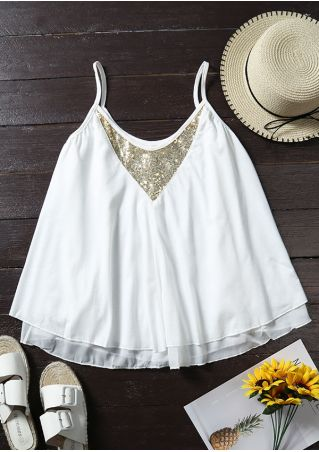 Sequined Splicing Double Layered Camisole