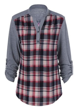 Plus Size Plaid Splicing Long Sleeve Blouse