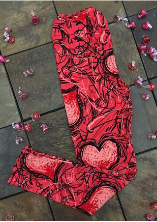 Heart Printed Elastic Waist Leggings