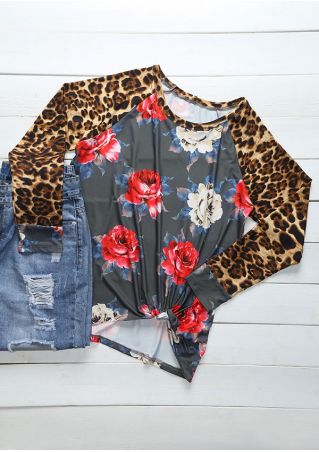 Floral Leopard Printed Splicing Blouse