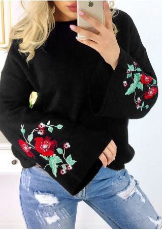 Embroidery Flare Sleeve O-Neck Blouse