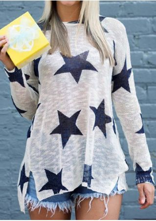Star Slit O-Neck Batwing Sleeve Blouse