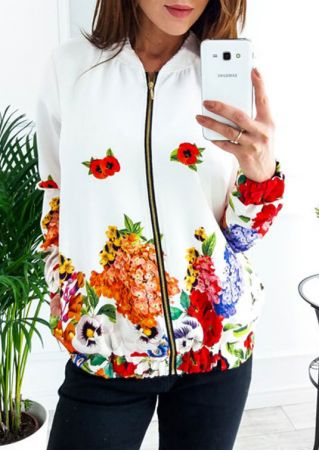 Floral Zipper Long Sleeve Jacket
