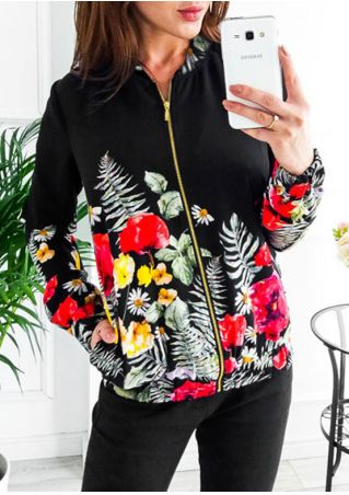 Floral Leaf Pocket Zipper Jacket