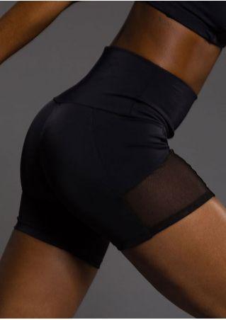 Solid Mesh Splicing Skinny Sport Shorts