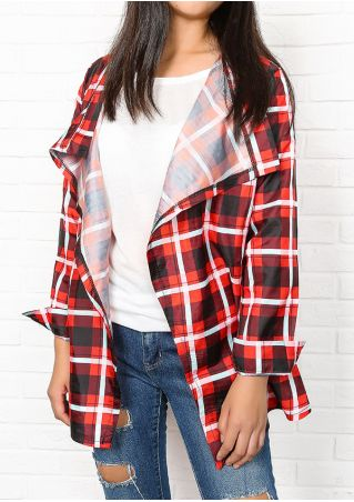 Plaid Sequined Splicing Cardigan without Necklace