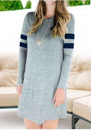 Striped Long Sleeve Mini Dress without Necklace